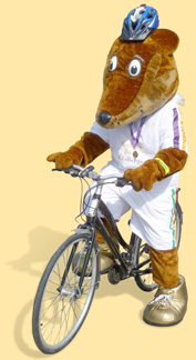Freddie the Fox ready to cycle to school